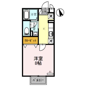 物件番号: 1110307829 セジュール環水 富山市下新町 1K アパート 間取り図