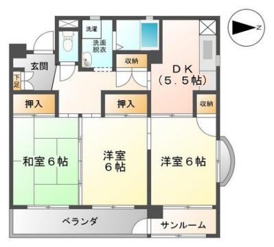 物件番号: 1110308037 パークサイド宝 富山市宝町2丁目 3DK マンション 間取り図
