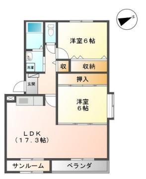 物件番号: 1110308263 ラ・フォーレ 南台B棟 富山市西荒屋 2LDK アパート 間取り図