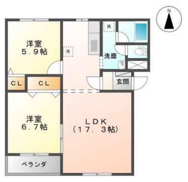 物件番号: 1110308267 プライム1 富山市経田 2LDK マンション 間取り図