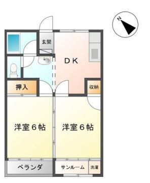 物件番号: 1110308545 ハイツなかがわら  富山市中川原 1DK アパート 間取り図