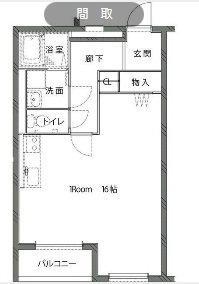 物件番号: 1110308649 ハートフルマンションQuatro  富山市上大久保 1R マンション 間取り図