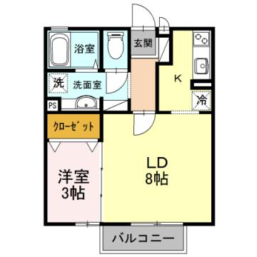 物件番号: 1110310082 アムゥル松田 富山市向新庄町4丁目 1LDK アパート 間取り図