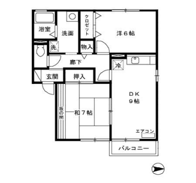 物件番号: 1110310222 リヴェールハウス 富山市堀川町 2DK アパート 間取り図